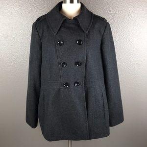 Charcoal Gray Michael Kors Wool Peacoat Jacket